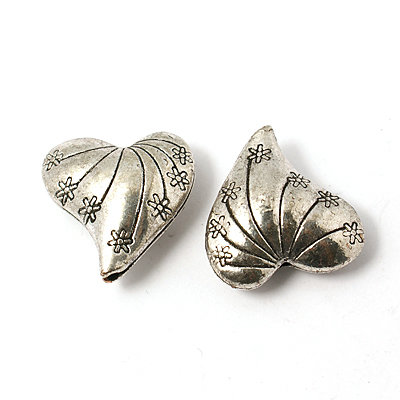 Heart Bead Antique Silver 25x24x12mm