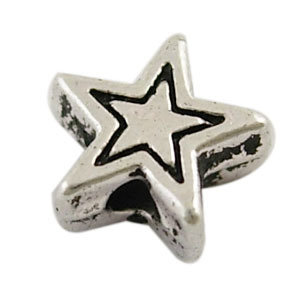 Star Bead Antique Silver 6mm