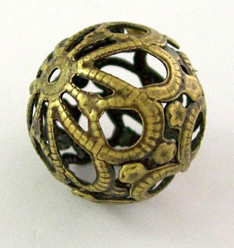 Filigree Bead Antique Brass  17x18mm