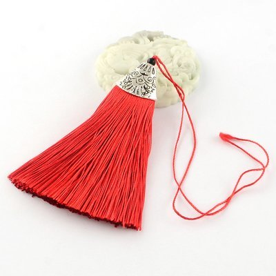 Red Tassel with silver cap   80x20x11mm