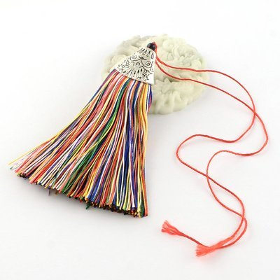 Multi Colour Tassel with silver cap   80x20x11mm