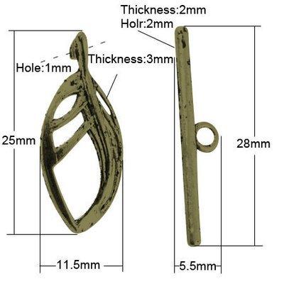 Leaf Toggle Antique Brass  23x11.5mm