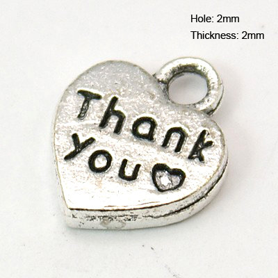 Thank you Heart Charm Antique Silver 12mm