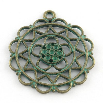 Round Flower Pendant  Antique Brass Green 42x37x3mm