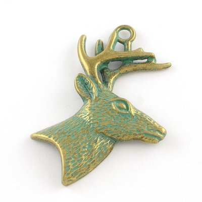 Deer with Antlers Pendant  Antique Brass Green 51x43x6