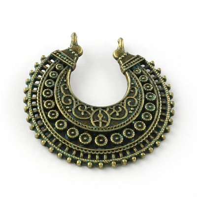 Crescent Pendant  Antique Brass Green 38x37x4mm