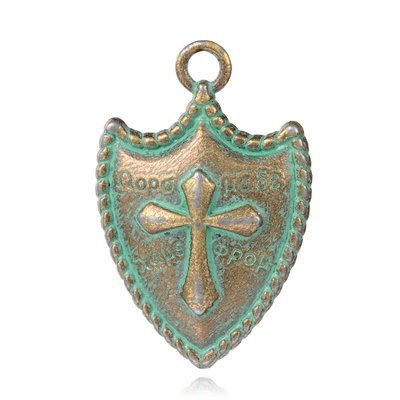 Sheild Pendant  Antique Brass Green 31x21x4mm