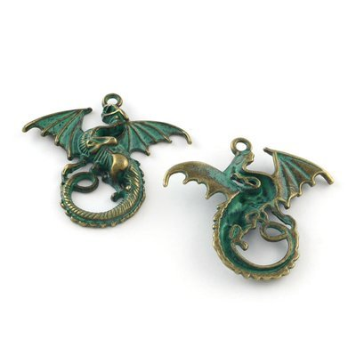 Dragon Pendant  Antique Brass Green 31x21x4mm