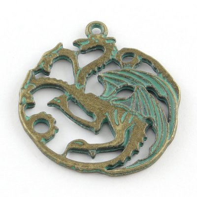 Dragon Pendant  Antique Brass Green 35x33x2mm