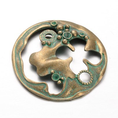 Steam Punk Pendant Antique Brass Green 49x5mm