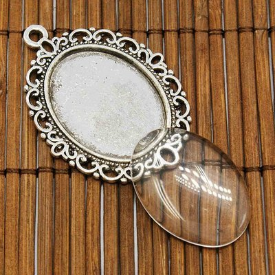Oval Pendant Cabochon Setting 2 piece set 39x28mm