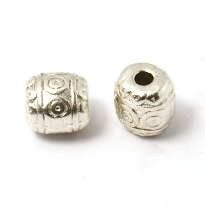 Barrel Bead Antique Silver 6x6mm