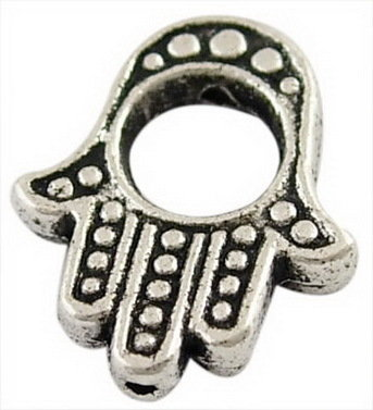 Hamsa Hand Bead Antique Silver 15x13mm