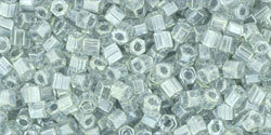 8/0 Hex Toho Transparent Black Diamond Lustre 112
