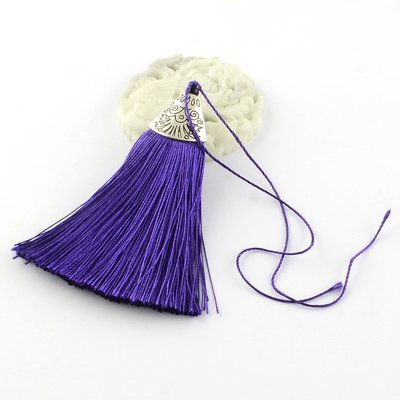 Purple Tassel with silver cap   80x20x11mm
