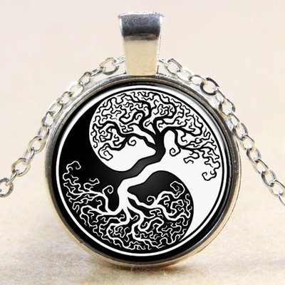 27mm Tree of Life Yin Yang Necklace  silver colour 18