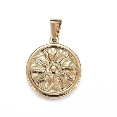 316 Stainless Steel Pendant Golden Sun 25mm