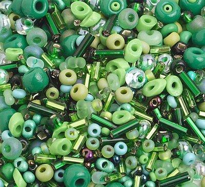 10/0 Round Czech Seed Bead Green Mix 1001-04