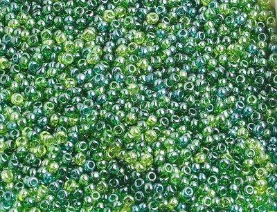 10/0 Round Czech Transparent Green Lustre Mix 2010