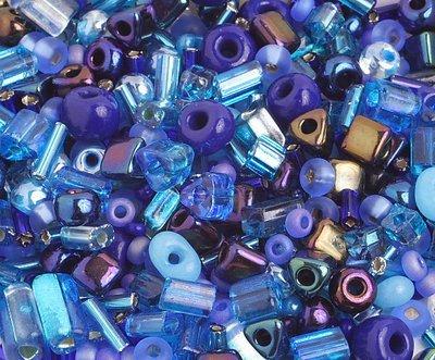 10/0 Round Czech Seed Bead Blue Mix 1001-03