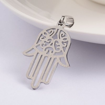 316 Stainless Steel Pendant Hamsa Hand 31x22mm