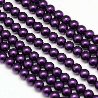 4mm Glass Pearls x100 Deep Purple