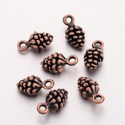 Pine Cone Charm Antique Copper 13x7x5mm