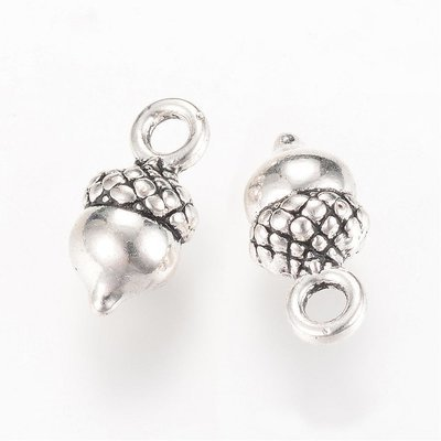 Acorn Charm Antique Silver 14x7x6mm