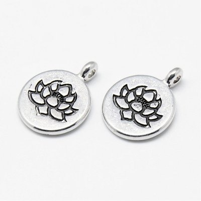 Lotus Charm Antique Silver 20x15x4mm