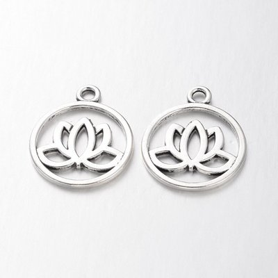 Lotus Charm Antique Silver  24x20x1.5mm