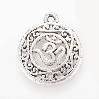 Om Charm Antique Silver 22x19x3mm
