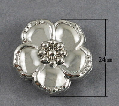 Flower Bead  Platinum 24mm