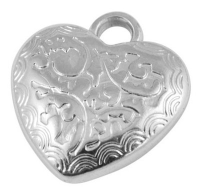 Heart Charm Platinum 18x15x4mm
