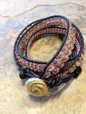 Triple Wrap Bracelet Peach and Copper 20