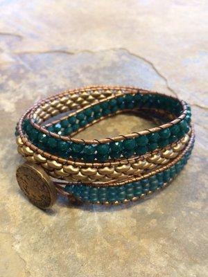 Triple Wrap Bracelet Teal and Gold Matte  21