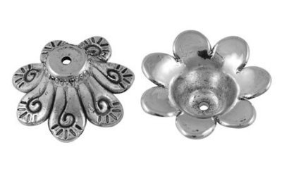 Flower Bead Cap Platinum  24mm