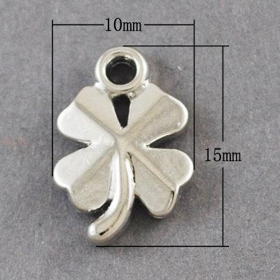 4 Leaf Clover Charm Platinum 15x10x2mm