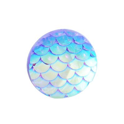 Fish Scale Resin Cabochon Deep Sky Blue 12x3mm