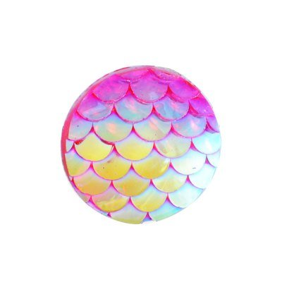 Fish Scale Resin Cabochon Magenta 12x3mm