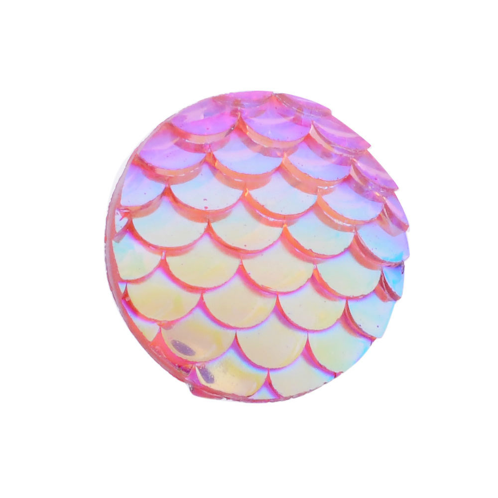 Fish Scale Resin Cabochon Plum 12x3mm