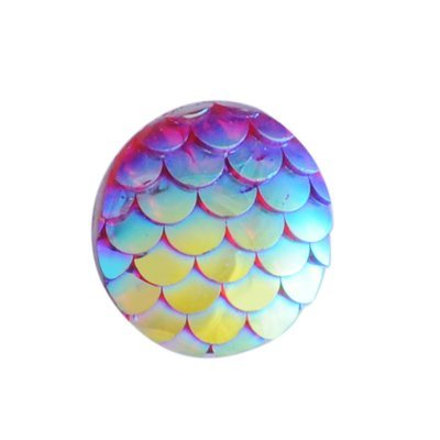 Fish Scale Resin Cabochon Gaarnet 12x3mm