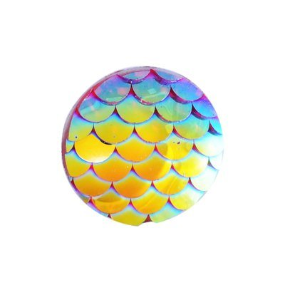 Fish Scale Resin Cabochon Gold/Pink 12x3mm