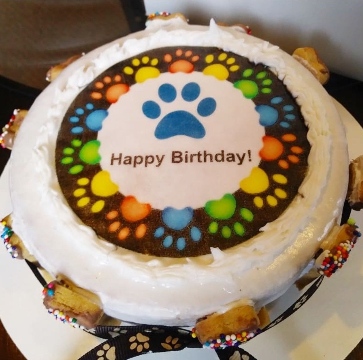 Colorful Paw Print Cake - Local Pickup Only- 2 day advance notice for baking time.