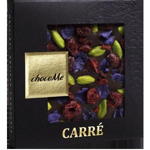 Горький шоколад с лепестками фиалки, фисташками Бронте, ягодами вишни (50 гр)