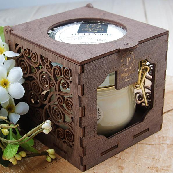 Деревянная коробка-подсвечник для одной банки меда-суфле Peroni