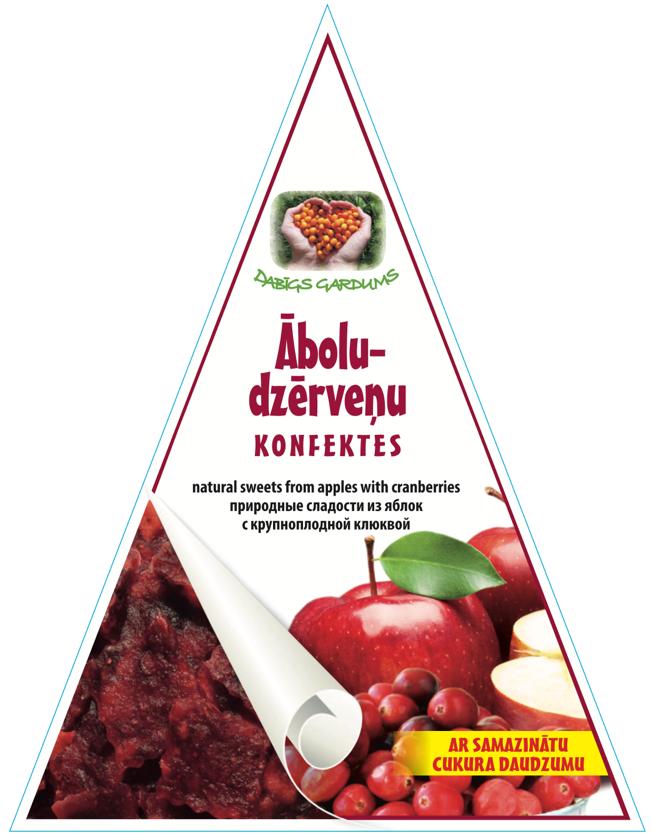 Натуральные мармеладные конфеты с уменьшенным сахаром, Яблоко-Клюква