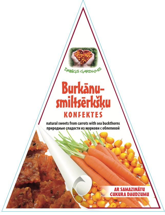 Натуральные мармеладные конфеты с уменьшенным сахаром, Облепиха-Морковь