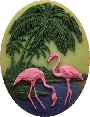 Pair of Tropical Flamingos