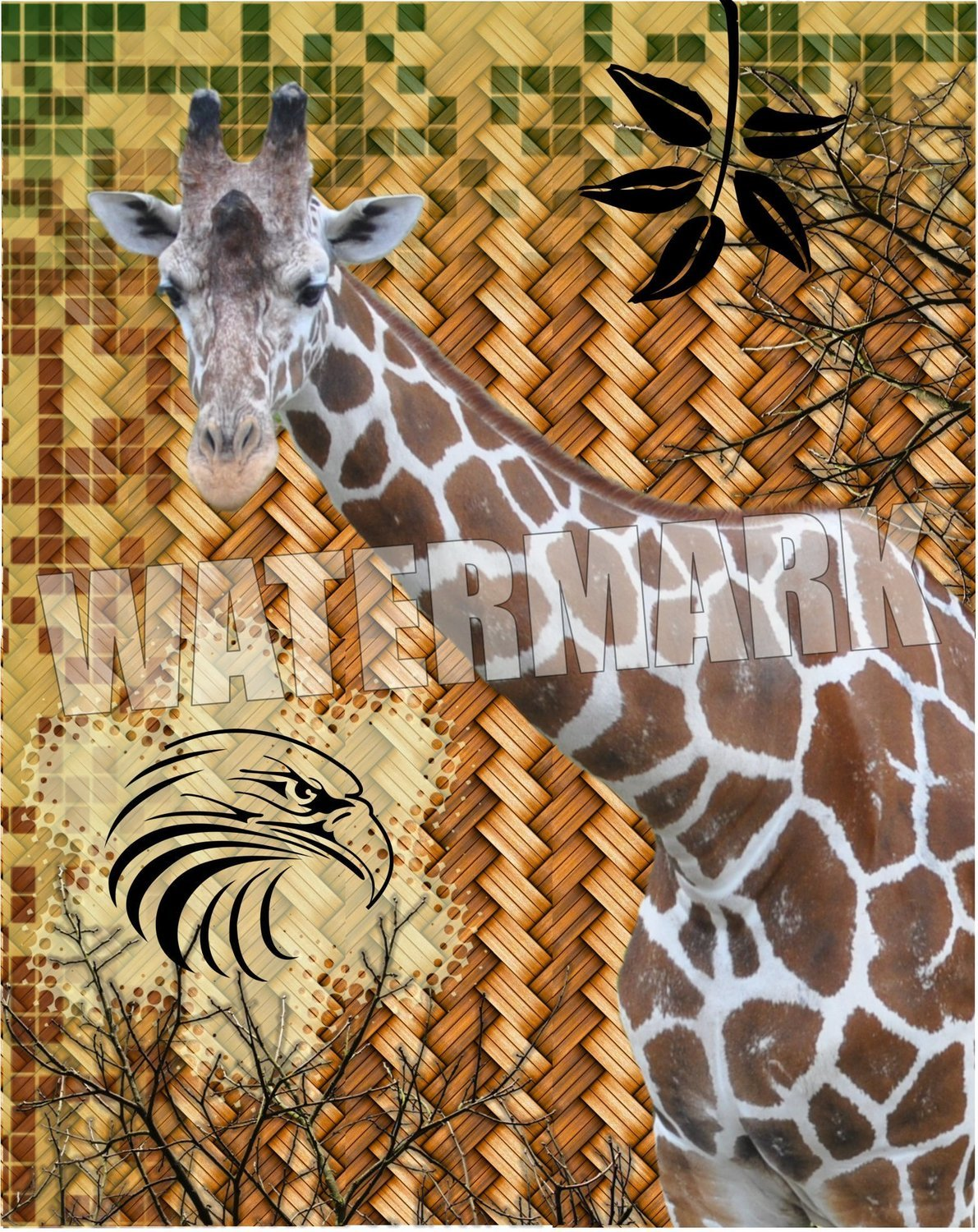 Jungle Giraffe/bird Instant Digital Download Print Wall Decor Graphic Art Printable Home Office (Download)