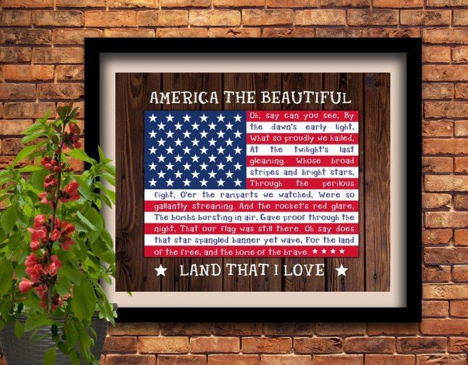 National Anthem Patriotic America Veterans Instant Digital Download Print Wall Decor Graphic Art Printable Home Office DIY